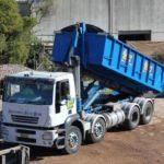 large hook bin skip bin on truck from aus blue bins