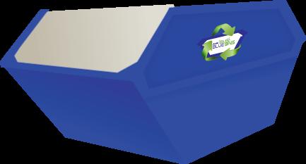 large blue skip bin vector designed by ACS for Aus Blue Bins