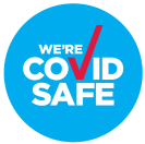 covid safe red tick , we're covid safe